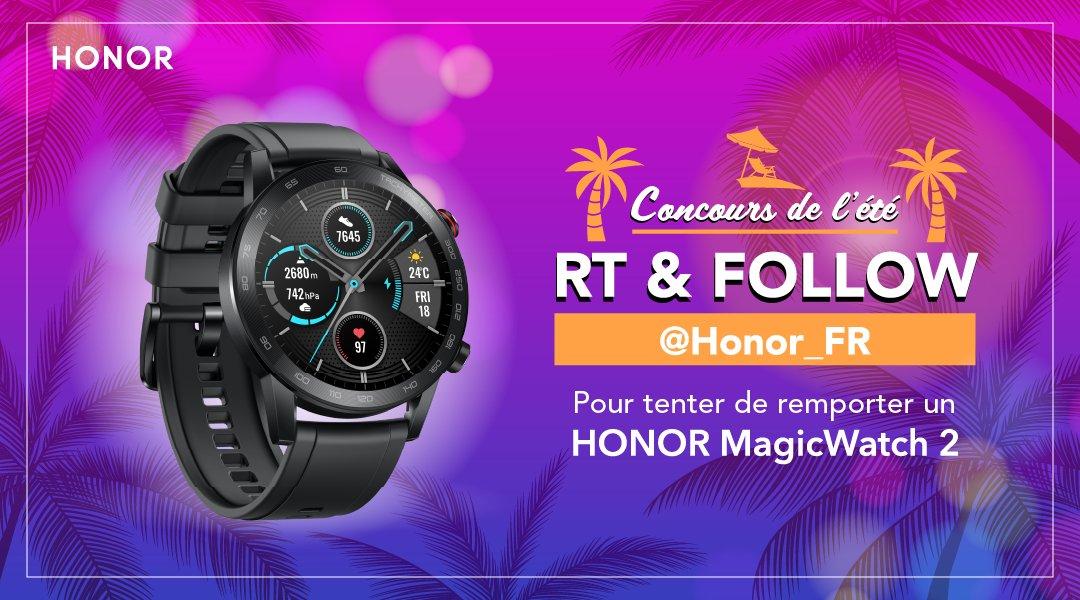 4ème concours de l'été HONOR ! ☀ Tentez de remporter la HONOR MagicWatch 2 ⌚ Parfaite pour suivre vos activités sportives pendant l'été 🏃♂️  Pour participer :   🔄 RT  ➡ Follow @Honor_FR   TAS le 02/08 🍀