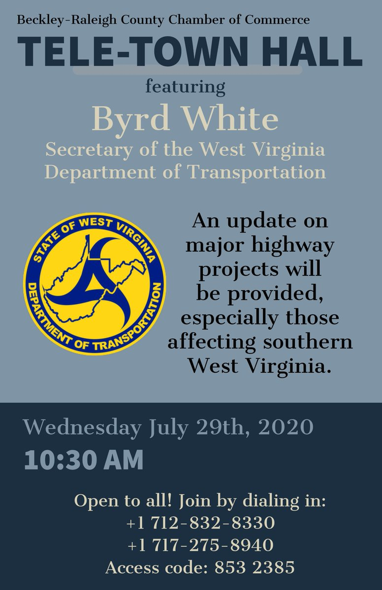 Our next TELE-TOWN HALL is coming up this Wed July 29, 10:30am featuring #WestVirginia Dept of Transportation.  Learn about updates on major highway projects especially those affecting #SouthernWV, ENTER YOUR QUESTION FOR TELE-TOWN HALL to mrotellini@brccc.com #BeckleyWV #WV