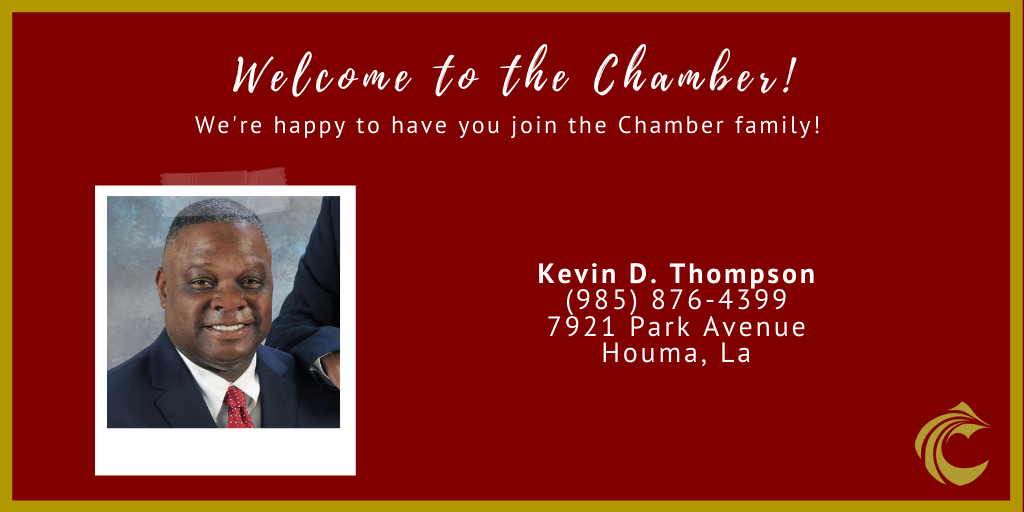 Welcome to the Chamber, Kevin D. Thompson! He's an attorney with 28 years of experience in handling both civil & criminal cases! Click to visit his Facebook page , call (985) 209-7829, or visit the office at 7921 Park Avenue in Houma! #newmembermonday