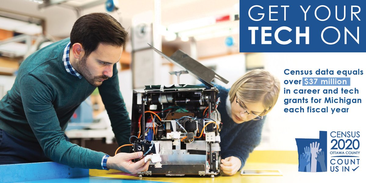 Accurate #Census data means local schools, colleges and tech centers are able to fund the tech training programs residents need to land the jobs of today and tomorrow! Keep Ottawa County competitive: Visit  today!    #OttawaCounts #michigankids #education