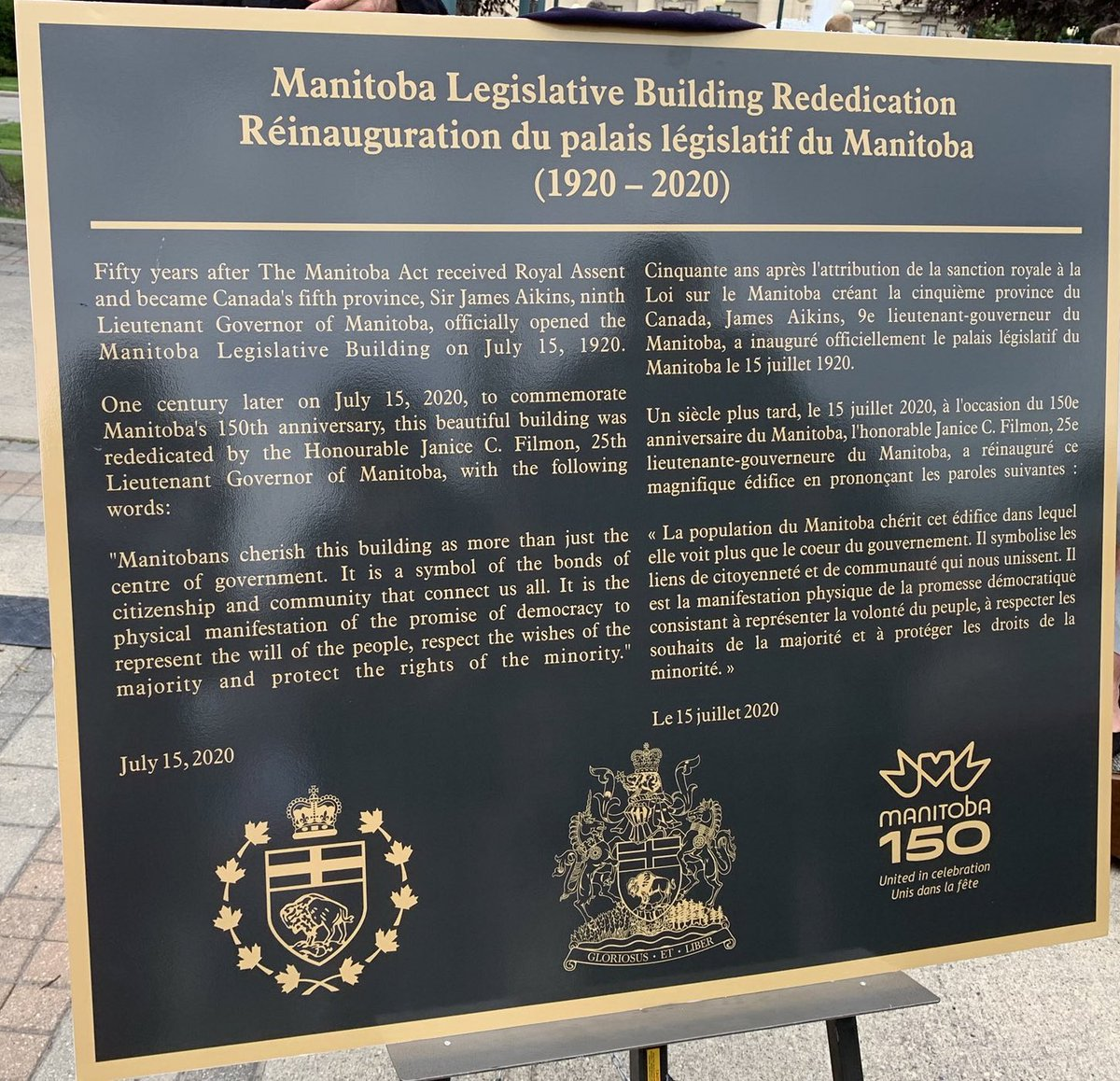 test Twitter Media - Today, we celebrate the 100th anniversary of Manitoba's Legislature. It was a pleasure to attend the formal re-dedication ceremony and the unveiling of the plaque. #mb150 https://t.co/3rbMnk8wfe
