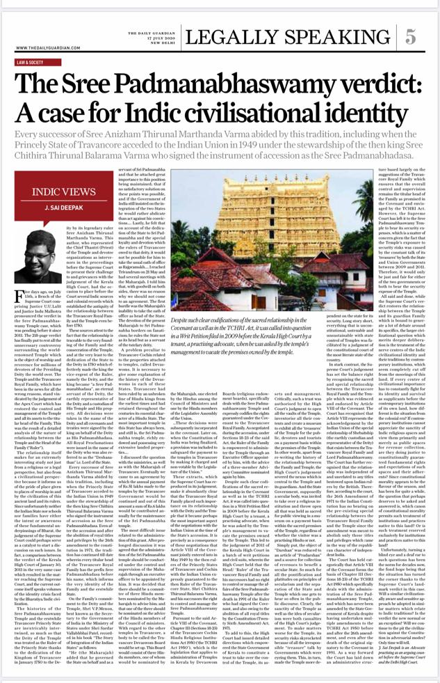 Here's my eleventh piece under my column Indic Views published in The Daily Guardian. I have discussed the #SriPadmanabhaswamyTemple judgement from a civilisational perspective in this piece. Cc @Tarunnangia-