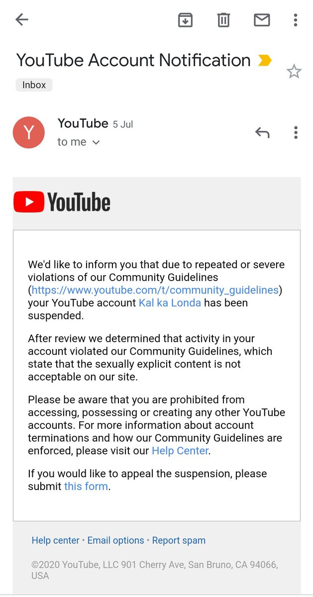 @TeamYouTube Dear youtube 5th of july my channel kal ka londa with 550k+ subs got suspended  its been 12 days i have submitted this suspension form (attached below) still i  have not got any response from this plz help Channel link -