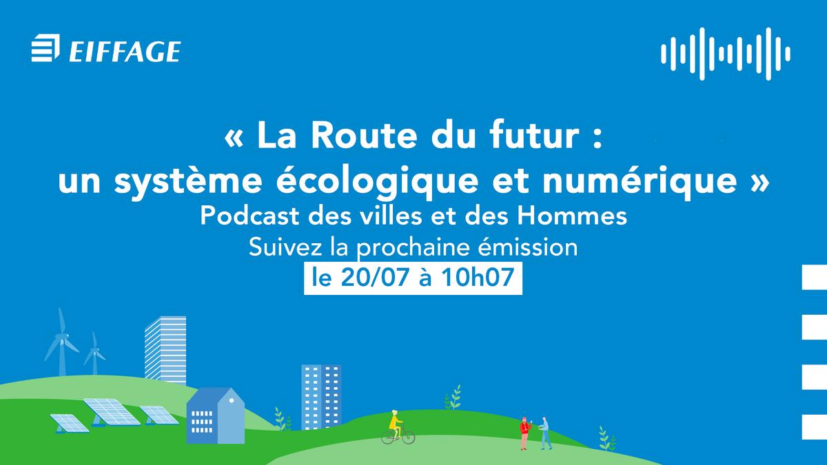 Prochain podcast « Des villes et des Hommes » ce lundi sur @radioimmo avec #ValérieDavid. Elle sera accompagnée d'invités spécialistes : #FrançoisOlard, directeur R&I d'#EiffageRoute et @NicolasHautiere directeur @UGustaveEiffel sur la route du futur 🚀 #EiffageForClimate