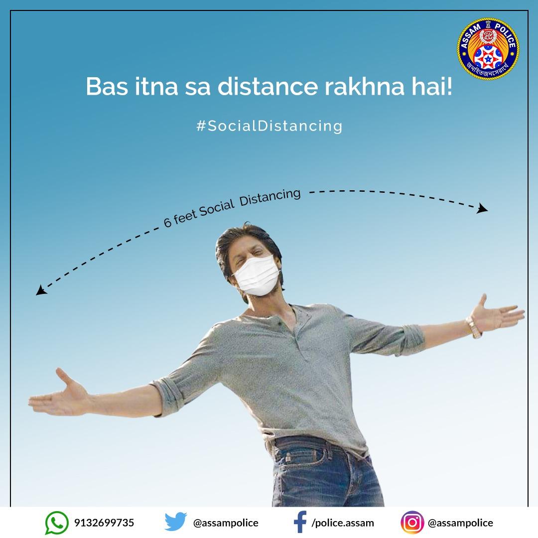 """Social Distancing can save lives.   Or as @iamsrk would say, """"Kabhi kabhi paas aaane ke liye kuch door jaana padta hai, aur door jakar paas aane walon ko Baazigar kehte hai.""""  Stay Six feet apart and be a Baazigar!   #SocialDistancing  #IndiaFightsCorona"""