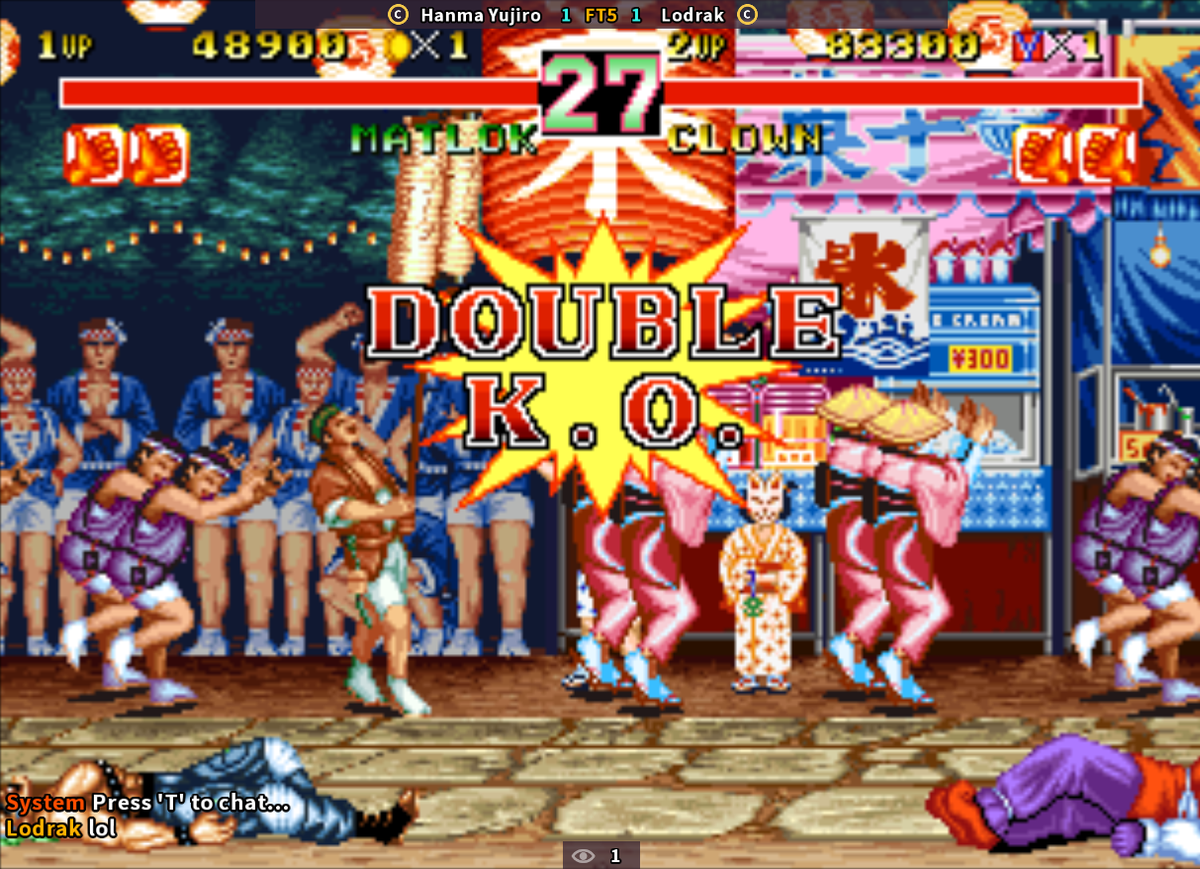 Today I got my first draw game in Karnov on new FC. In this game, double k.o. means 1 round won for both players: if this occurs in the final round of the match, both players will lose and no winner is declared.  FC system indeed didn't give wins to no one in this case, smart!