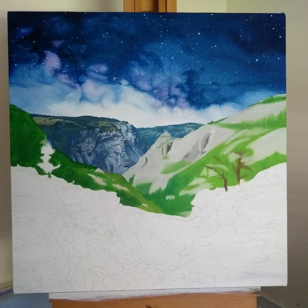 test Twitter Media - Some of Saturday spent roughing in colour to the next section of this oil painting of Yosemite national park. #oilpainting #yosemite https://t.co/QzMKC9mutR