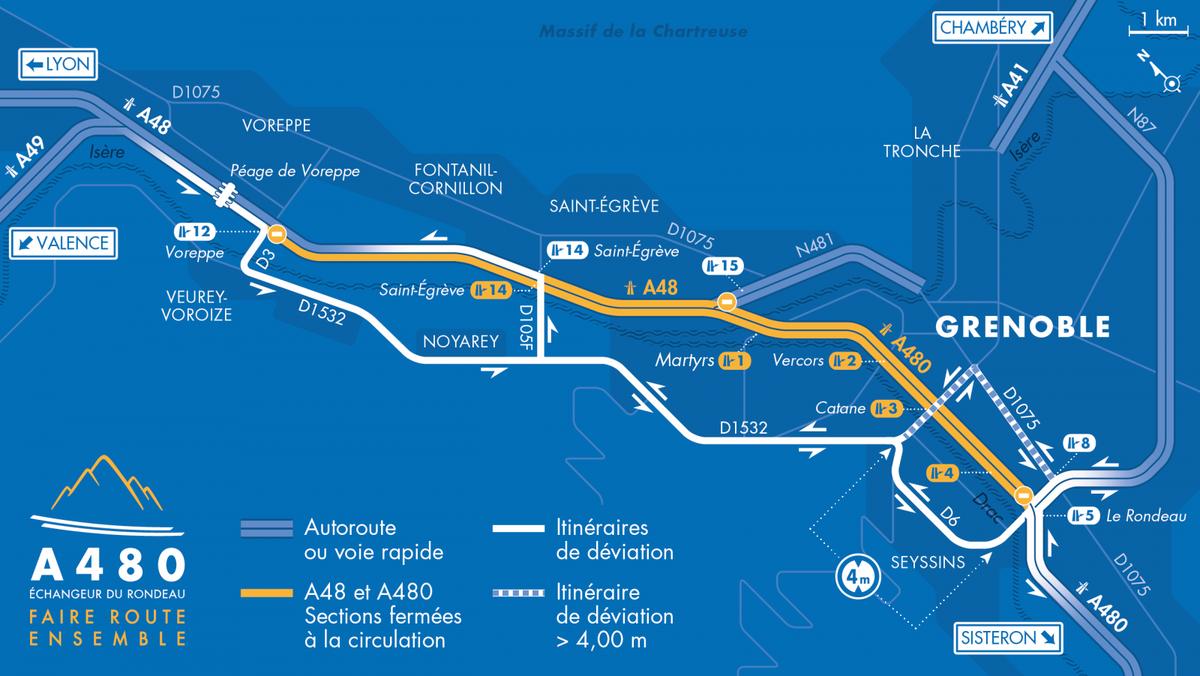 🚧 Fermetures #A480 et #A48 cette semaine  L'A480 et l'A48 seront fermées les nuits du 20 et 21 juillet :  - vers Sisteron : entre #Voreppe et le #Rondeau de 20 h 30 à 6 h - vers Lyon : entre le Rondeau et Saint-Égrève de 21 h à 6 h.  Plus d'infos sur :