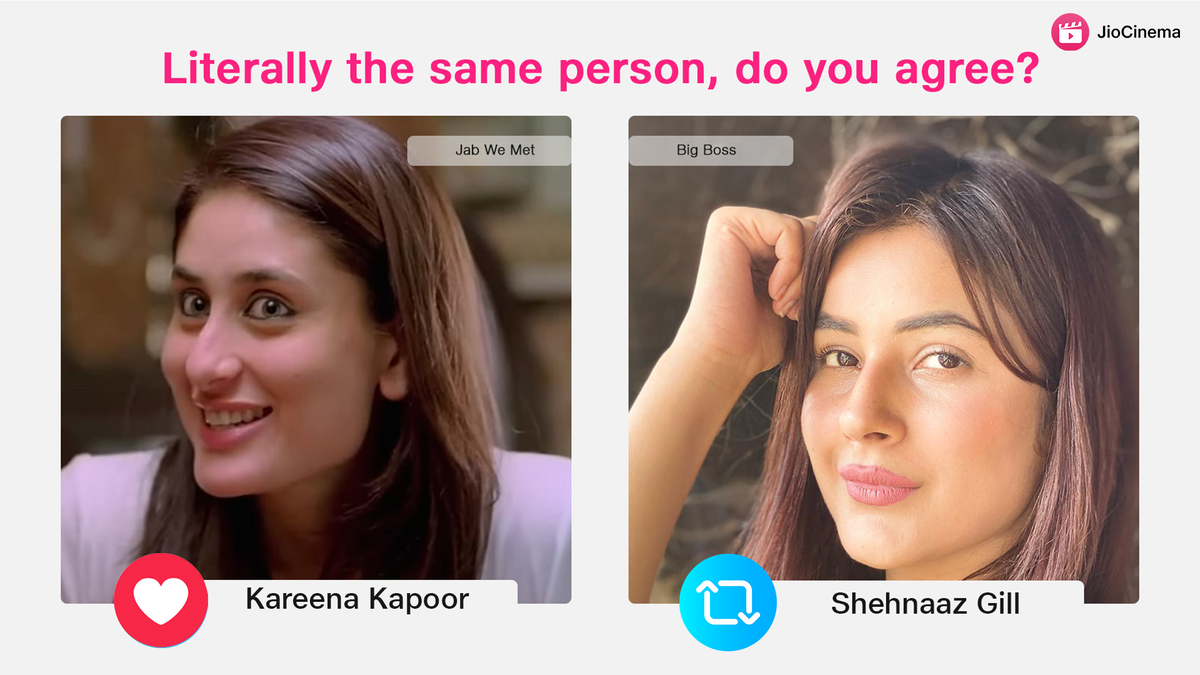 The resemblance is uncanny! 😍  🔁 RT for #ShehnaazGiIl, LIKE for #KareenaKapoorKhan ❤️  #BiggBoss14 #BiggBoss13 #BiggBoss #jabwemet #MondayMotivation #KareenaKapoor #mondaythoughts #SidNaaz