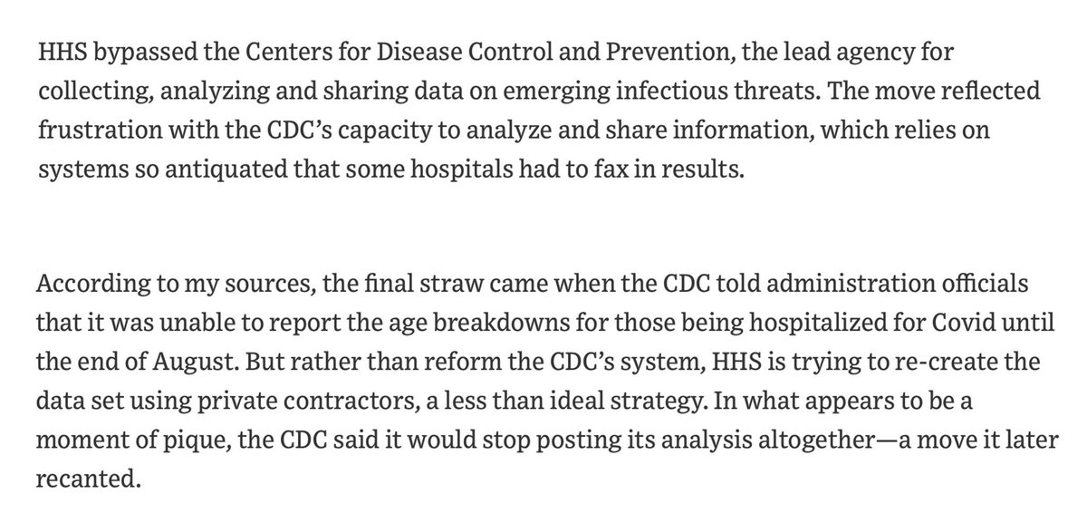 32/. Last week the Trump admin ordered hospitals to bypass the CDC & send key #coronavirus information to a Washington database run by the shadowy surveillance company, Palantir  @nytimes said it had alarmed health officials.  It should alarm us all!