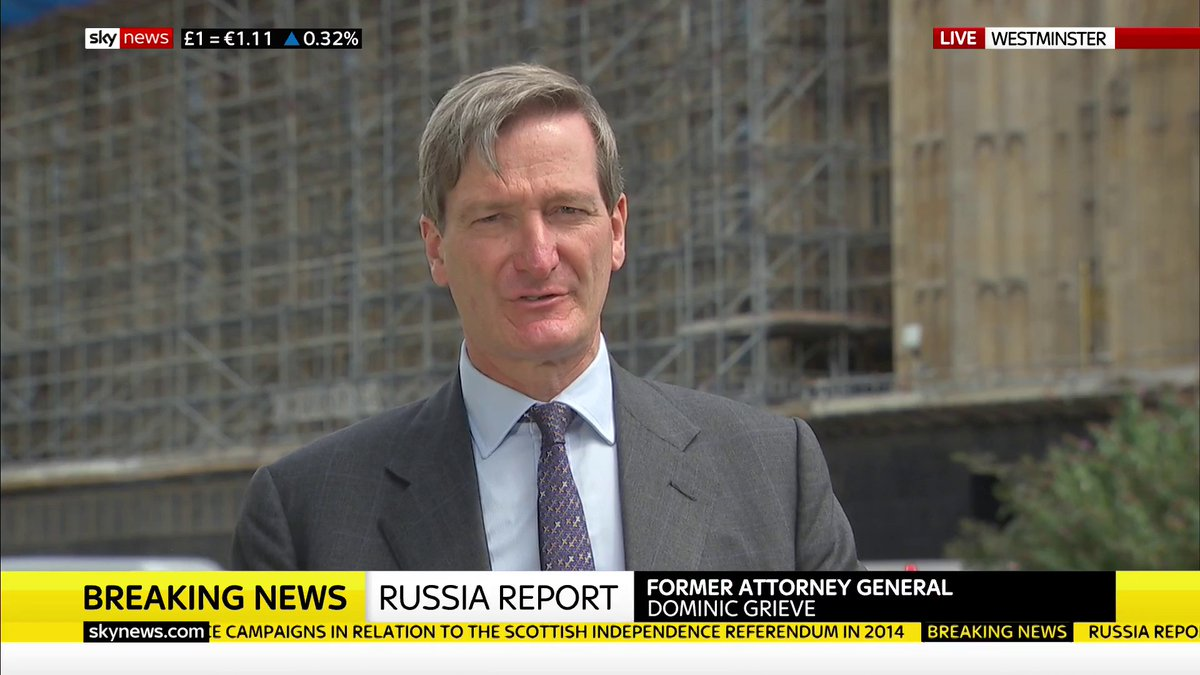 """This is actually a threat to our democracy.""  Dominic Grieve says the UK should have investigated whether Russia interfered in the 2016 EU referendum, as there were ""clear signs"" of this happening in other electoral processes ""from 2014 onwards"".  Latest:"