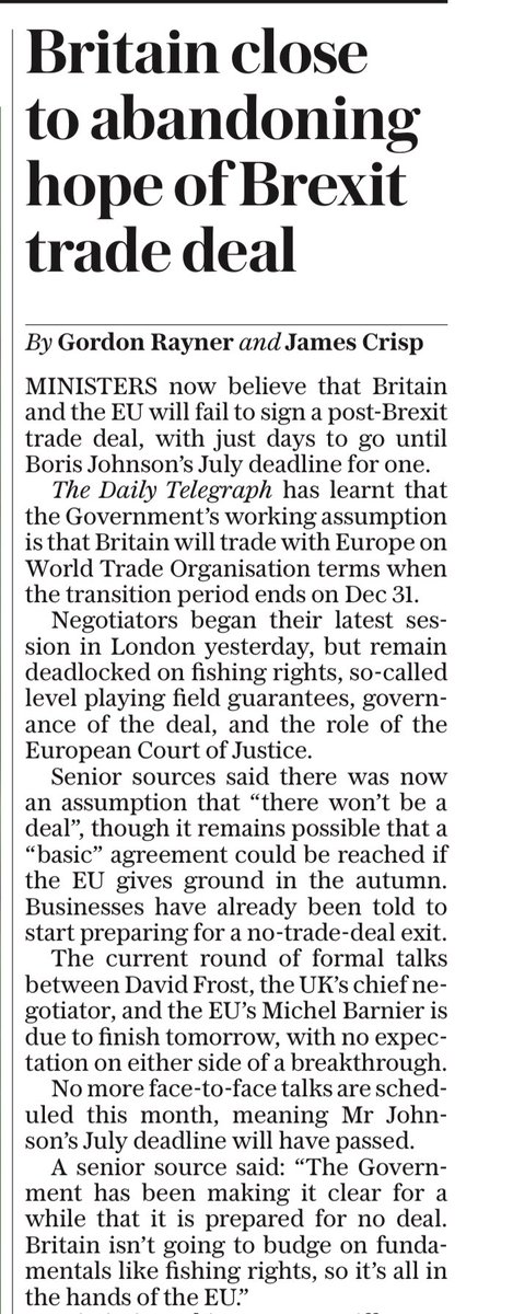 TELEGRAPH FRONT: Britain close to abandoning hope of Brexit trade deal #TomorrowsPapersToday