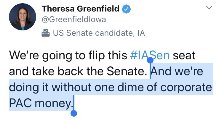 """Despite tweeting several times that she hasn't received """"one dime"""" of support from corporate PACs, @GreenfieldIowa's campaign has taken over $230,000 from leadership PACs bankrolled by corporations and lobbyists. #IASen   Great reporting from @CAndersonMO"""