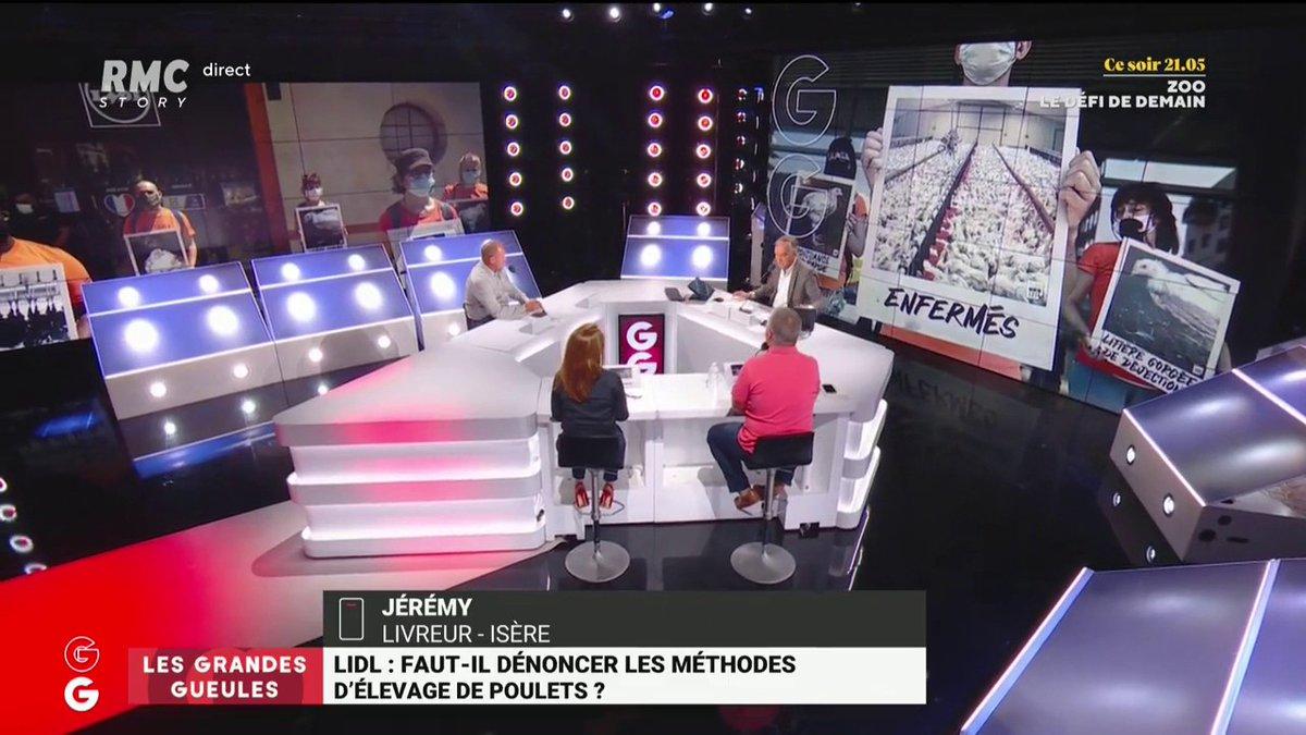 """#Lidl : faut-il dénoncer les méthodes d'élevage de poulets ? 🤔🐔  👉 Jérémy, livreur : 📢 """"Je pense que L214 s'est trompé sur la cible principale ! On sera obligé de passer par l'élevage intensif pour nourrir la planète !"""" #GGRMC"""