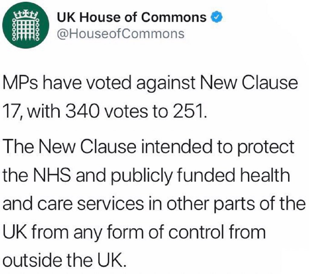 This tweet was taken down from the House of Commons Twitterfeed 'because of concerns about impartiality'. It is a fact. Something the government seems to have a problem with.