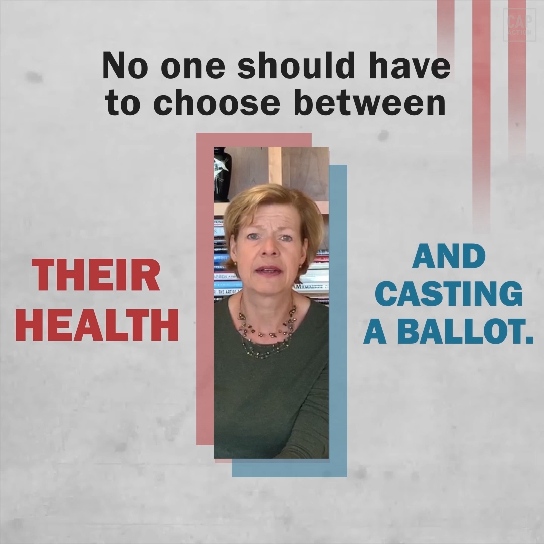 No one should have to choose between their health and casting a ballot—but that's exactly what Republicans are trying to force Americans to do in November.  Watch @TammyBaldwin explain the urgent need to fully fund vote by mail and other election reforms: