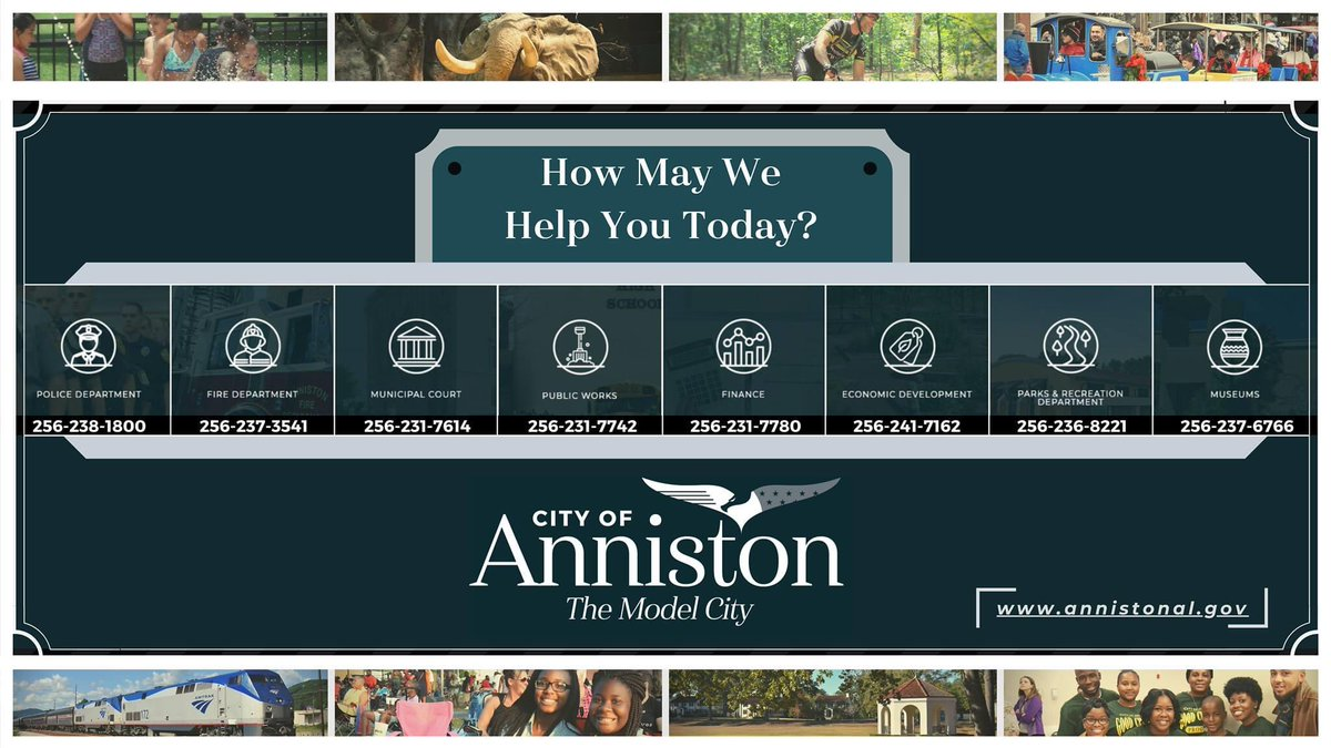 We are always happy to help! Please, feel free to contact our city's #Departments or #Services if you are in need of any information and/or assistance! ⬇️  Thank you!   #Anniston #HappyToHelp