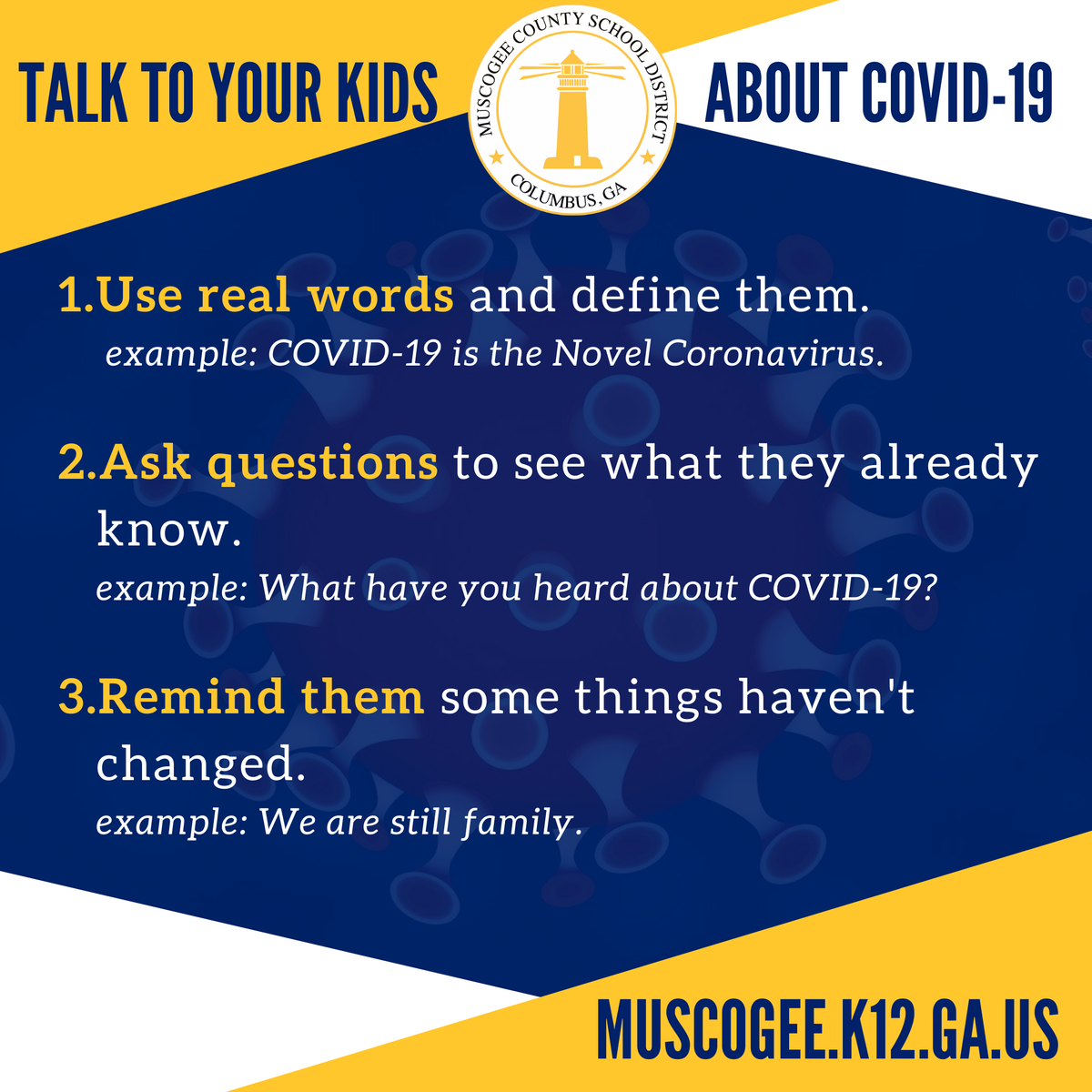 In case you are looking for ways to connect with your kids about COVID-19: 1. See our interview with WTVM News Leader 9: . 2. Learn more under
