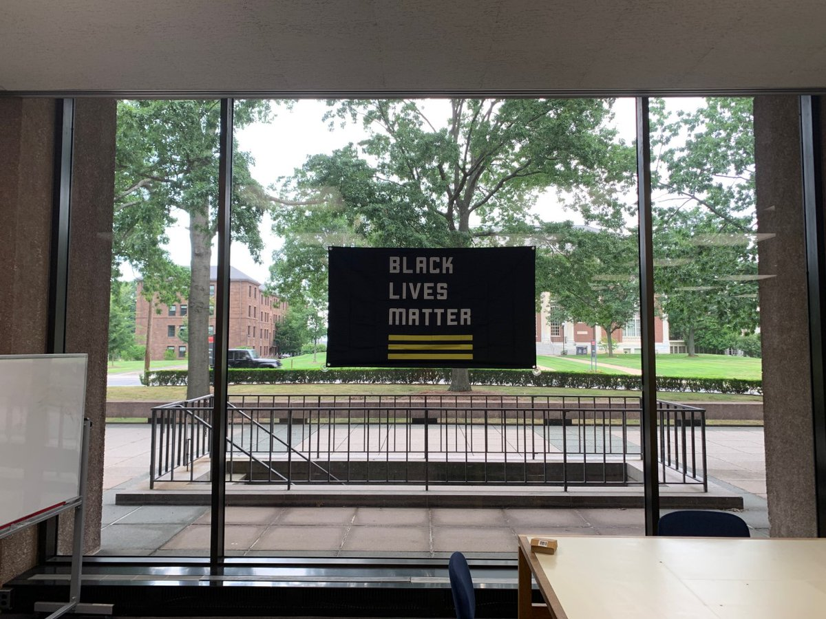 test Twitter Media - Today we hung @Blklivesmatter flags in both Olin and SciLi. This is just a first step towards a more racially just library and community @wesleyan_U https://t.co/S46P9sFRzO