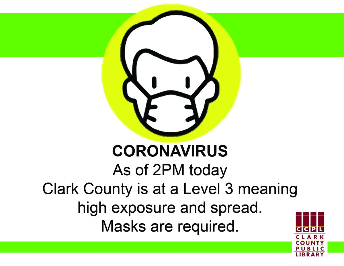 UPDATE - As Clark County has moved to a Level 3, masks are required to be worn in our buildings by staff and the public, effective immediately.