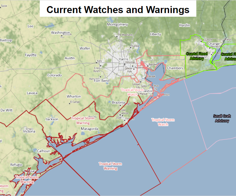 RT @NWSHouston: Current Watches and Warnings in the Houston/Galveston County Warning Area. #houwx #txwx #TD8