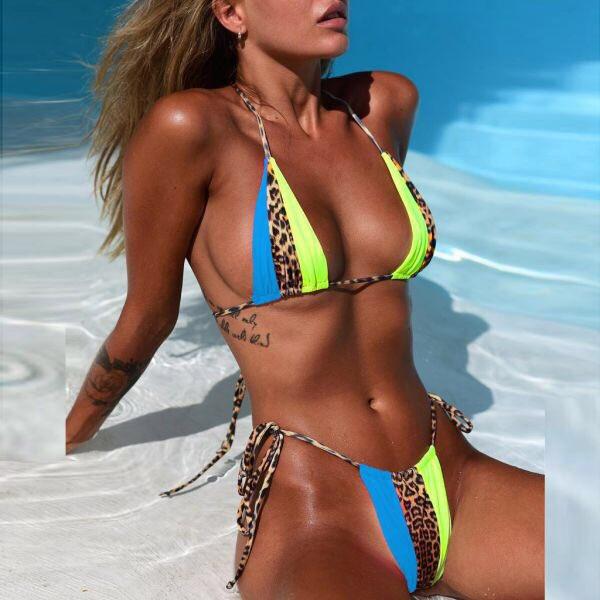 Leopard print nylon padded bra #bikini