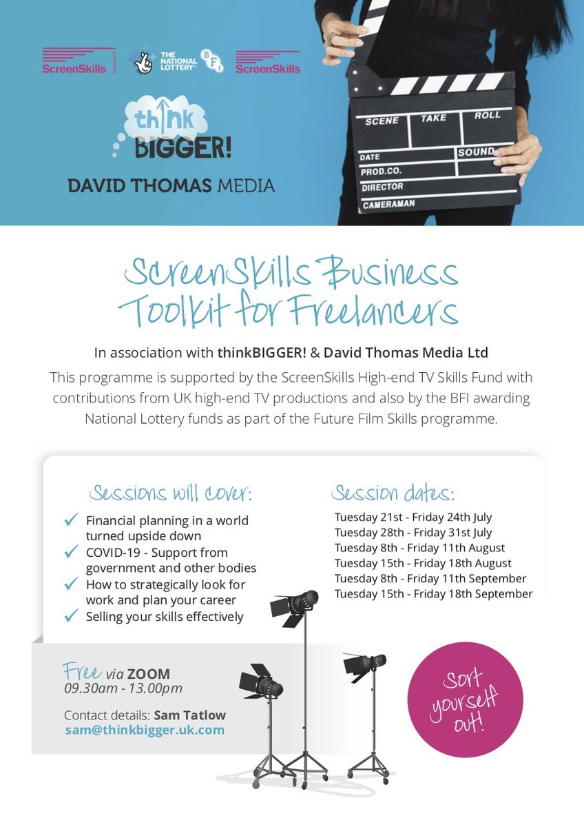 Work in HighEnd TV or Film and looking to sort out your finances or need help planning ur next career move?  Apply to @UKScreenSkills Business Toolkit for Freelancers course with us & @dtmtraining  https://t.co/XAXc0ya84I  Sign up now! #Training https://t.co/bV2RBJ2O1h
