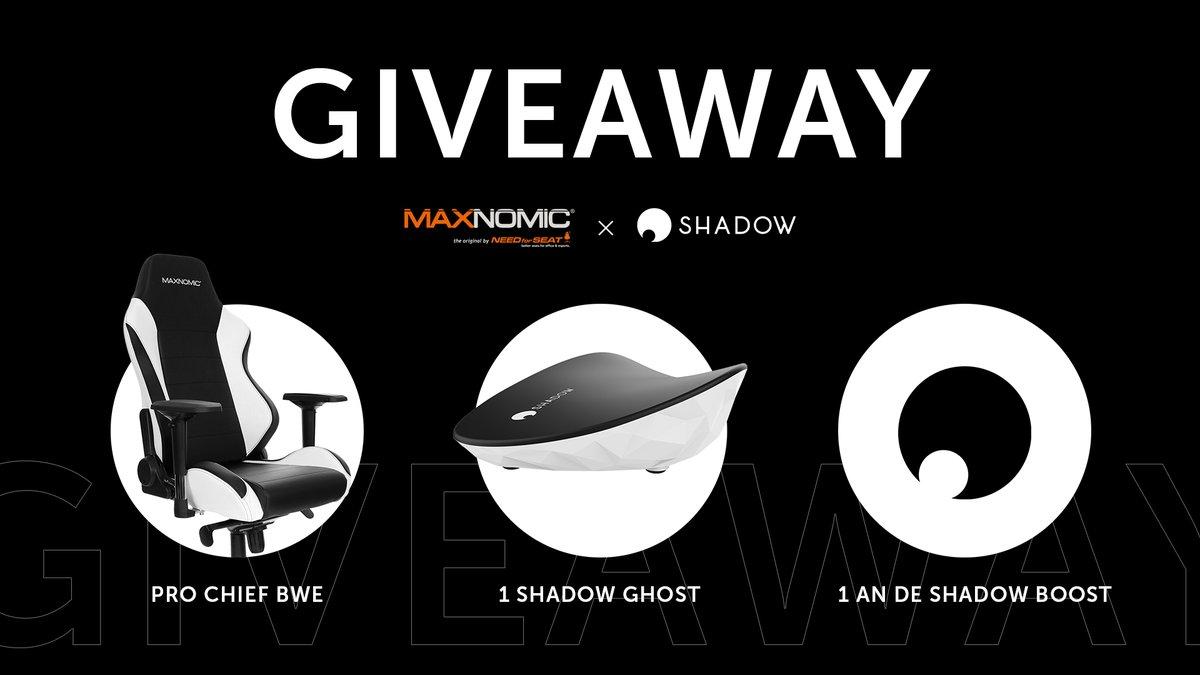 🎁 #CONCOURS 🎁  1 siège Maxnomic Pro-Chief BWE 1 Shadow Ghost 1 an de Shadow Boost Soit + de 600€ 🤯 de lot en jeu pour remporter un max de games avec un max de confort 🔥  Pour participer : 🔁 RT ✅ Follow @NEEDforSEAT_FR & @Shadow_France  TAS le 31/07 ⏰ GL & HF 🍀