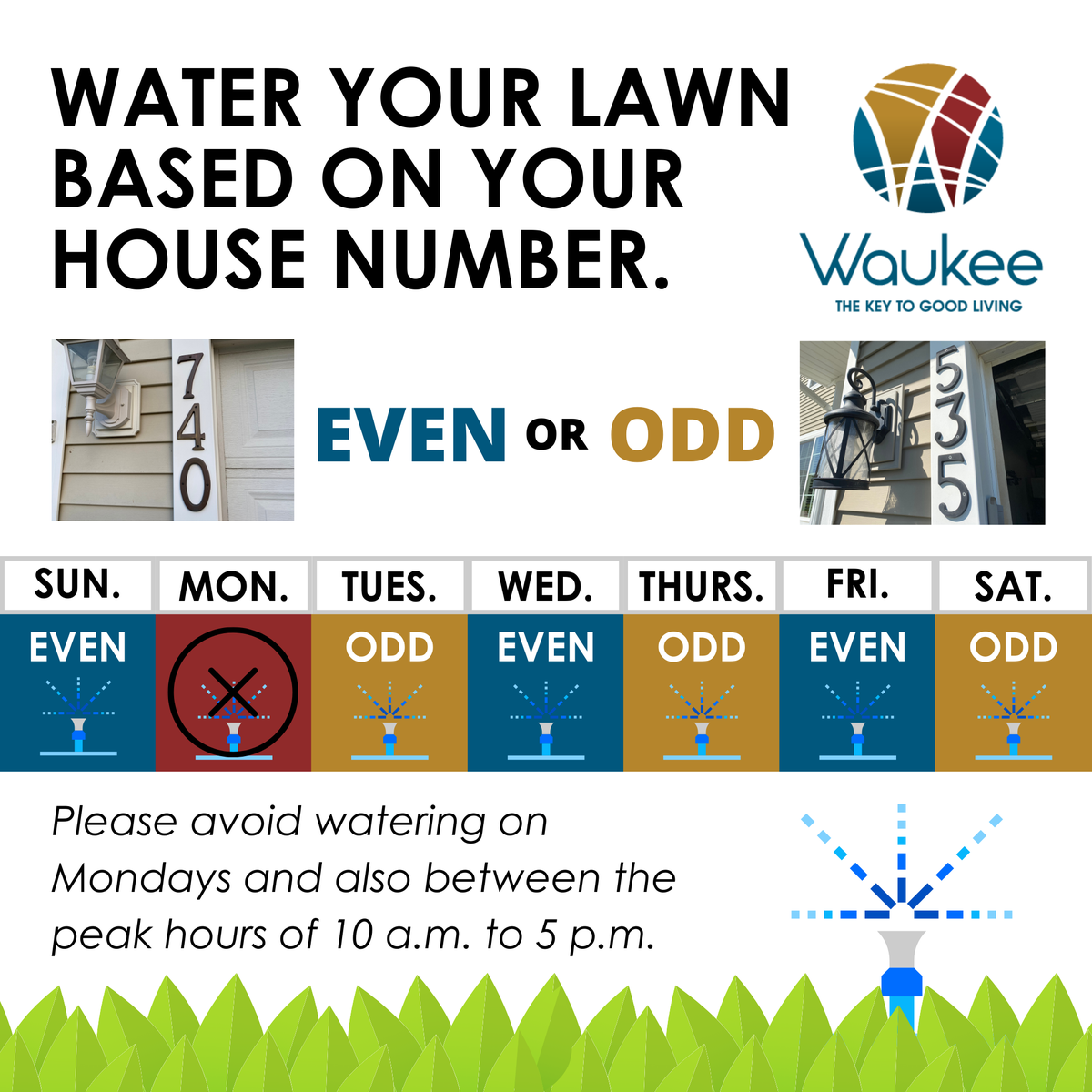 It's going to be another hot, dry weekend in Waukee. Stage II of the City Water Conservation Plan is still in effect, asking residents, businesses & other agencies to reduce lawn irrigation/outdoor water use by 50%. Follow the odd-even irrigation schedule to help reduce. Thanks!