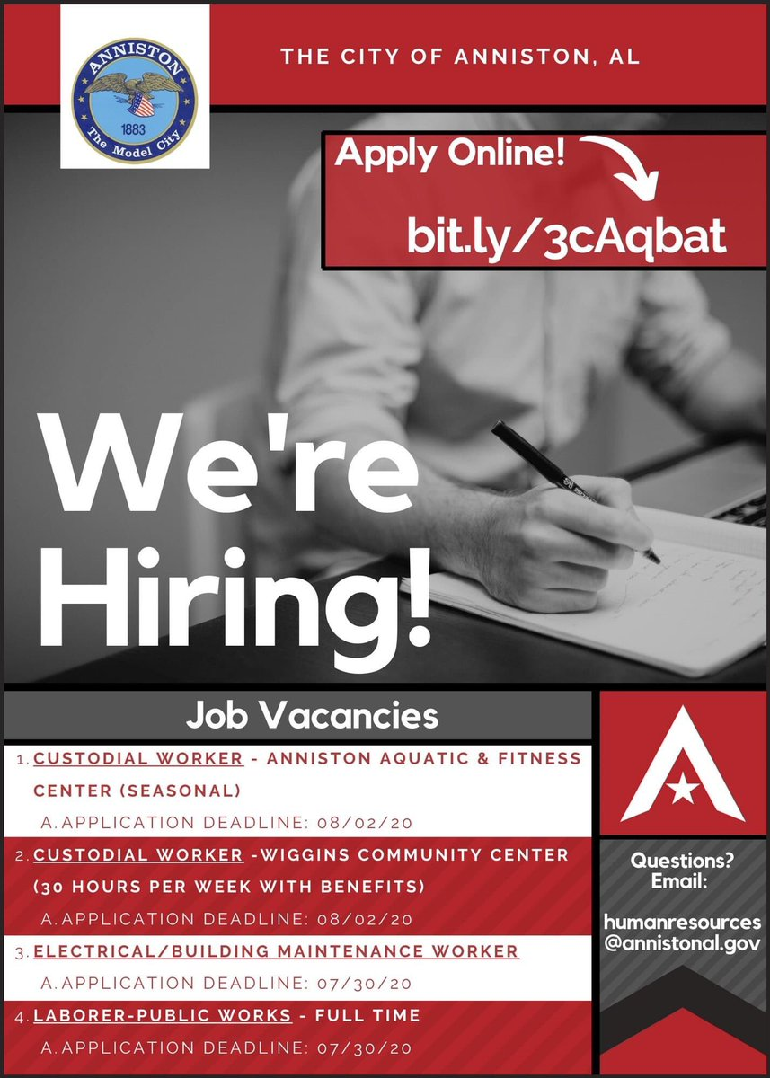 #PSA: We're #Hiring! 💼  _____________________________  🔴 You may #Apply online by following this link:   Thank you!   #Jobs #Anniston #EmploymentOpportunities