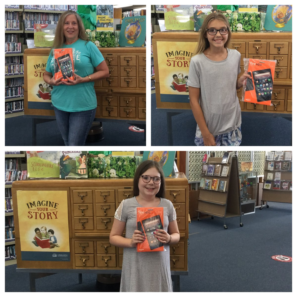 Congratulation to our three Kindle Fire Winners. Winners were entered into a drawing each time they used their library card this summer. The Kindle Fires were given by the Friends of h Cooke County Library.