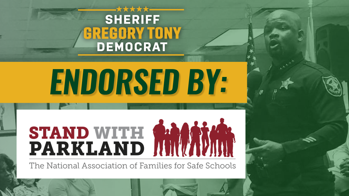 We are honored to receive @StandWParkland's endorsement for our campaign. The national school safety advocacy group's support is based on Sheriff Tony's record of success in reforming BSO's training, equipment, and programs to keep our schools, and our community, safe.