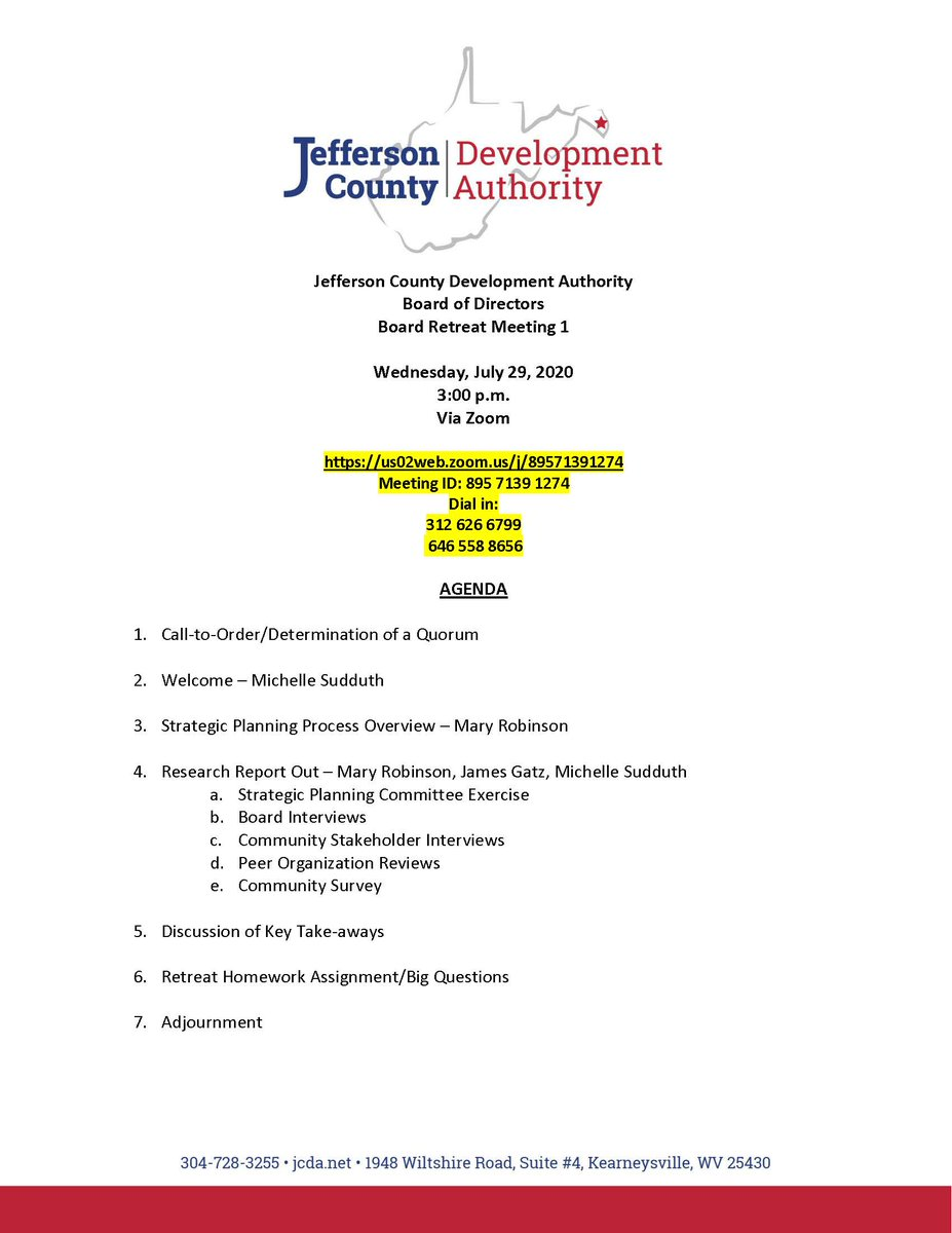 The Jefferson County Development Authority Board of Directors will meet for a Board Retreat on Wednesday, July 29, at 3 p.m., via Zoom.  Zoom Meeting Link: