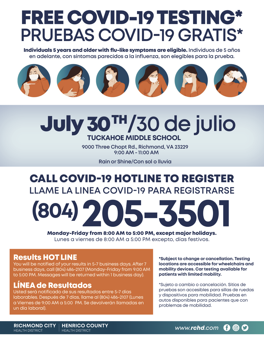 TODAY: COVID-19 testing is available through @RichmondCity_HD 9-11 a.m. at Tuckahoe Middle School. Call 804-205-3501 to register. Walk ins are also welcome! Learn more about testing options for the uninsured: