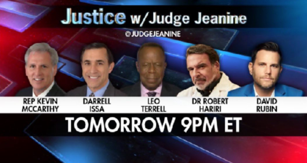 TOMORROW NIGHT at 9PM ET! Be sure to tune in to 'Justice'! @GOPLeader @DarrellIssa @TheLeoTerrell Dr. Robert Hariri  and @RubinReport will be on. You won't want to miss it!