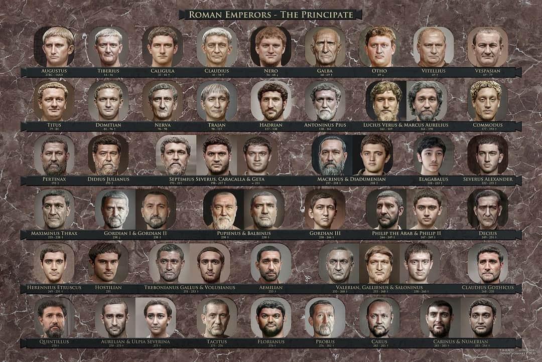 #Histoire #romaine La galerie de mes ancêtres 😊 Les empereurs romains , d'Auguste a Carinus!   #teamRomains #twitterAntique