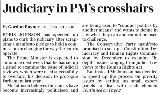 """According to the @Telegraph """"Boris Johnson has speeded up plans to curb the judiciary"""". We must not be fooled by claims that this is about restoring """"the sovereignty of Parliament"""". It's about the power of Number 10 to sideline Parliament - & all other checks on its power. THREAD"""