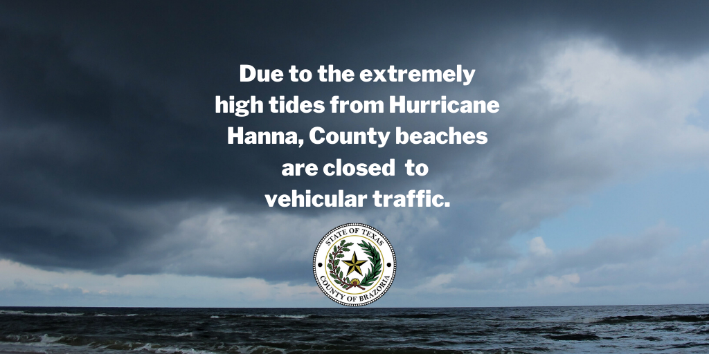 Due to the extremely high tides from Hurricane Hanna, County beaches are currently closed  to vehicular traffic.