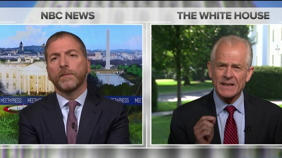 """CHUCK TODD: """"Where's POTUS? Why was he at his golf club all wknd? Why isn't he negotiating?""""  PETER NAVARRO: """"You have to understand, this is the hardest working POTUS in history. He works 24/7 in Bedminster, Mar-a-lago, Oval Office or anywhere in between"""""""