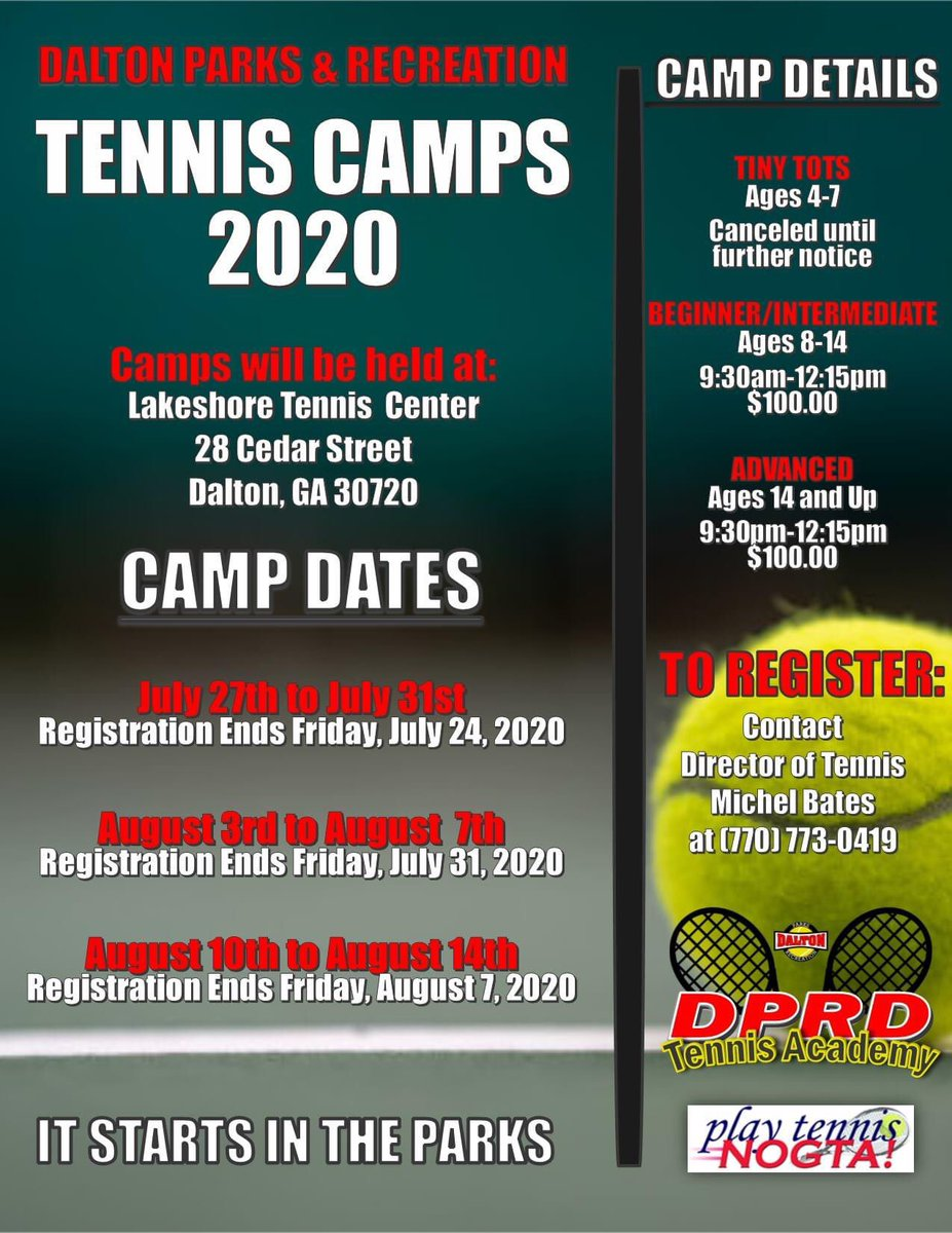 🎾 TODAY IS THE LAST DAY TO REGISTER FOR TENNIS CAMP 🎾 This will be our last one, don't miss out!  To register, call Michel Bates at 770-773-0419