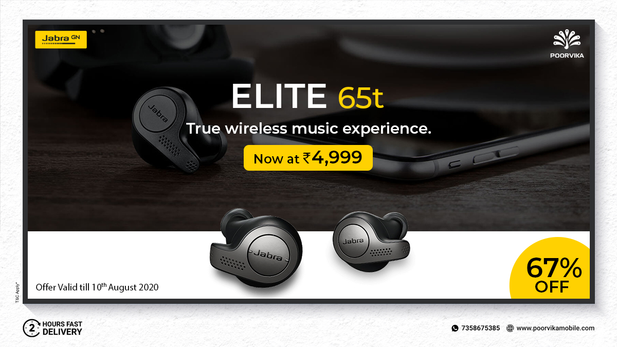 Unbelievable #Offer ! 67% OFF on #Jabra Elite 65T. A perfect fit for a #TrueWireless experience. Avail now for Just Rs.4,999 to enjoy smooth calls and great music !  #ShopOnline:  Experience 2 hours* #ExpressDelivery   #TrueWireless #PoorvikaMobiles #Deals