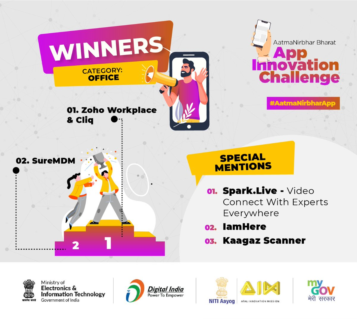 We are excited to announce the winners of the 'Office Category', in the #AatmaNirbharApp Challenge. Congratulations! All entries were of a very high standard, and we urge you to download and start using these 100% Indian Apps today!