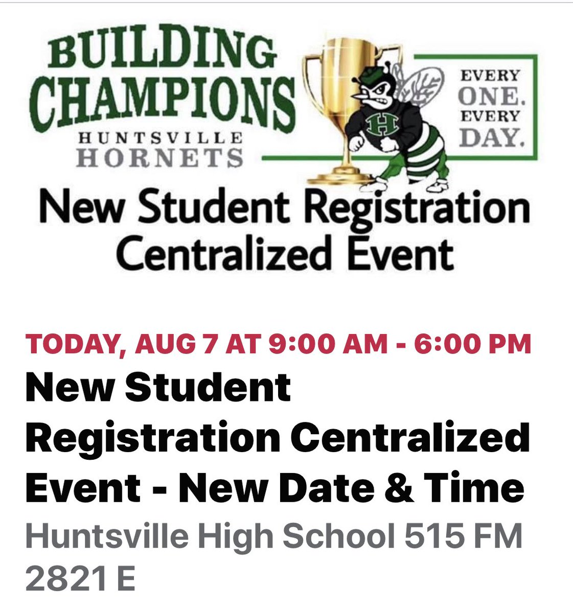 Come see us TODAY from 9-6 @ HHS for support with new or returning student registration!!   Please do not bring children & only 1 parent per family should attend.  Be prepared to wait in line.  Doors will close promptly at 6 so please plan ahead.  See all details on HISD website.