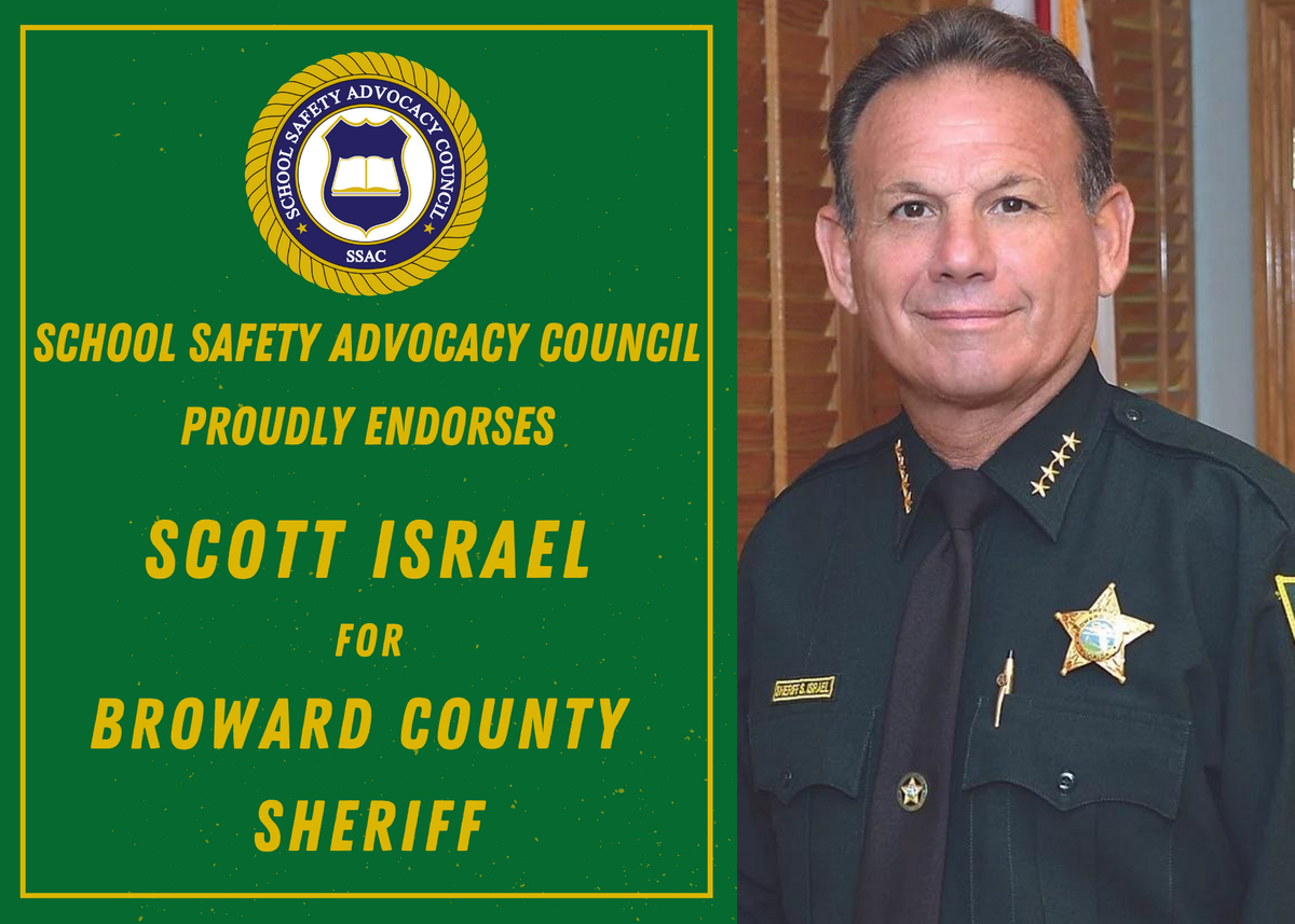 SSAC is pleased to announce the Endorsement of  @ScottJIsrael for SHERIFF of Broward County, FL. Upon election as Sheriff in 2013, Sheriff Israel reached out to us expressing his support for SROs and School Safety. #BrowardCounty @browarddems @SunSentinel
