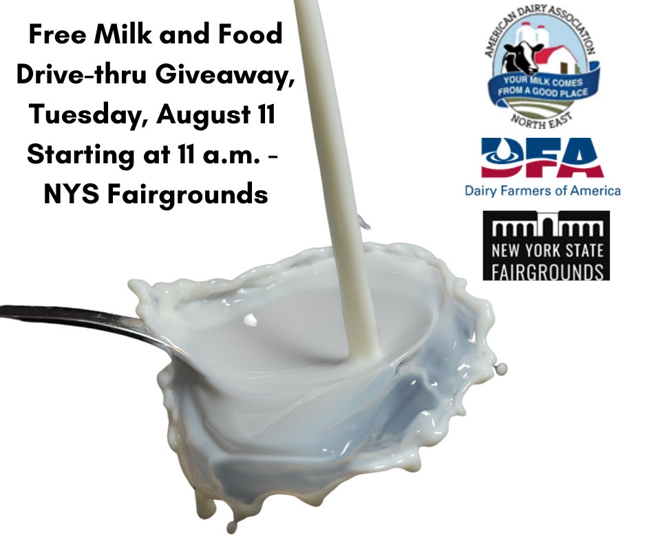 The @AmericanDairyNE, @dfamilk, Renzi Foodservice, @NYSFair and community partners will host a Milk and Food Drive-thru Giveaway on Tues., Aug. 11 at 11 a.m. at the Fairgrounds (581 State Fair Blvd, 13209). 8K+ gal of milk and 85K+ lbs of food available while supplies last.