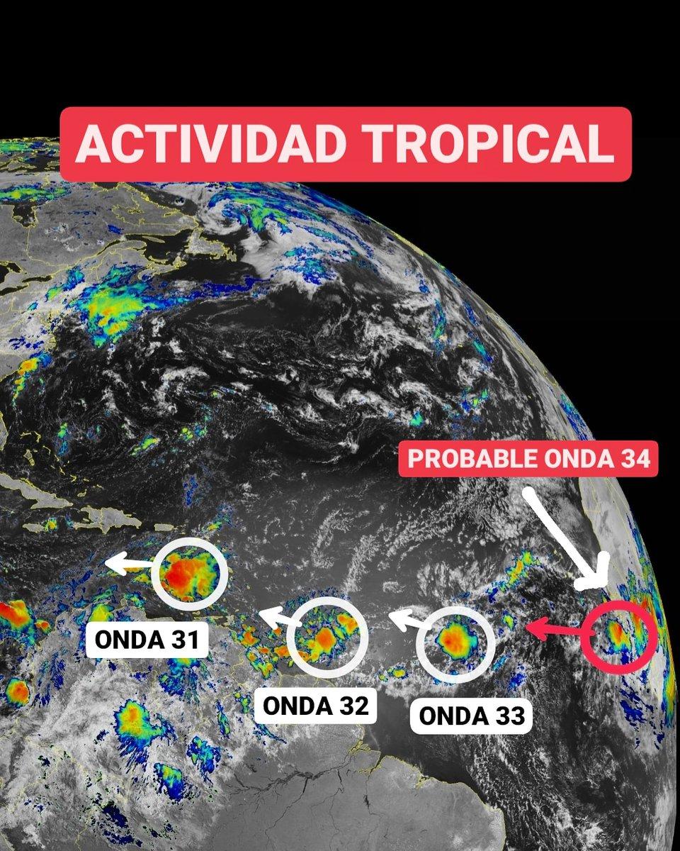 ⚠️Así está el Atlántico al final de esta semana laboral: tres ondas tropicales (31, 32 y 33) desplazándose hacia el Caribe y la probable onda número 34 está saliendo de África con nubosidad consistente.  Sigue ⬇️