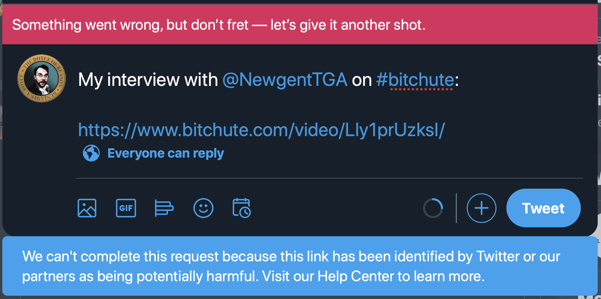 #BitChute (a youtube competitor) is now blocked by Twitter.   Some big political & trust interests behind this, if it's not just a glitch.