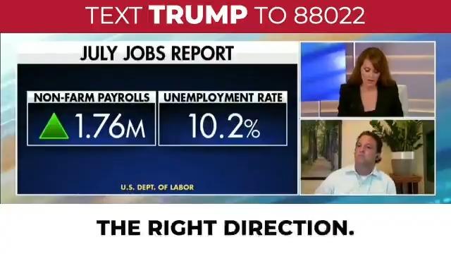 1.8 MILLONES de trabajos fueron creados en julio. El presidente Trump construyó la economía más fuerte en la historia de Estados Unidos, ¡y lo está haciendo de nuevo!