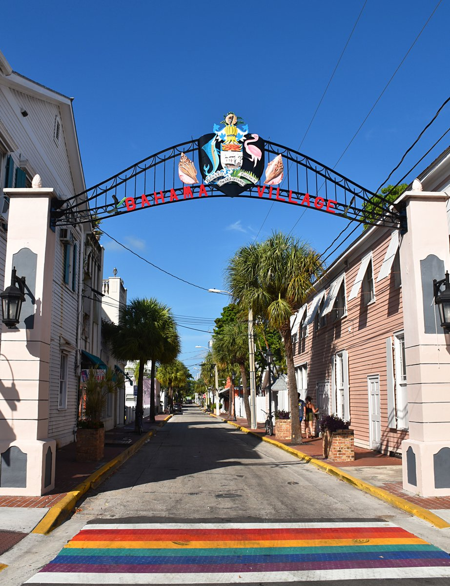 Our Community Services crew is currently reinstalling the beloved Bahama Village Arch at the corner of Duval and Petronia streets. It was repainted back to the original bright colors after sun and time had left it faded.