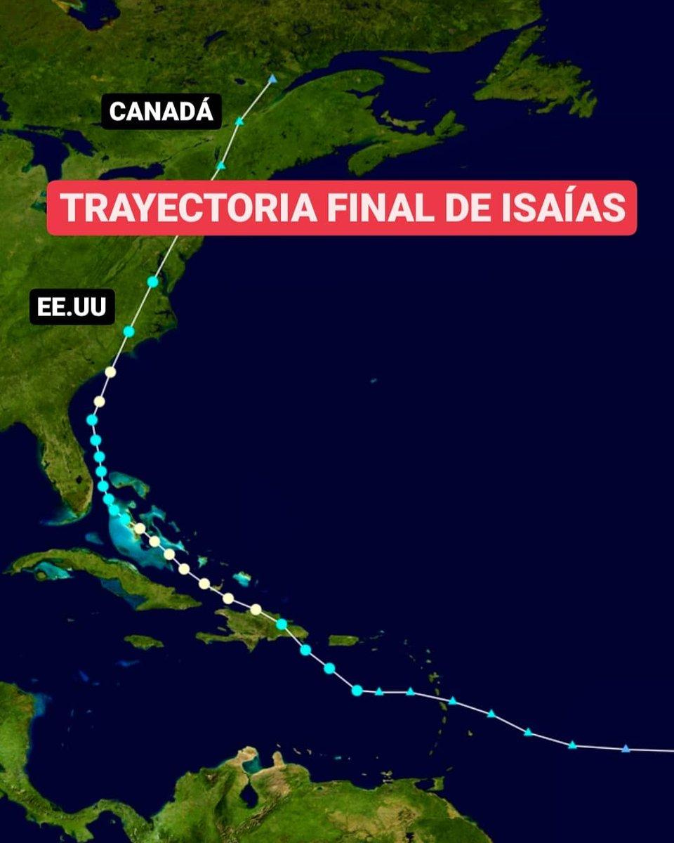 🔴RESUMEN🔴 Esta es la trayectoria final de Isaías, el cual se disipó al sureste de Canadá dejando fuertes lluvias, ráfagas de viento y algunas inundaciones. ⚠️Isaías se formó como tormenta tropical el 30 de julio y se disipó el 5 de agosto.   Sigue ⬇️